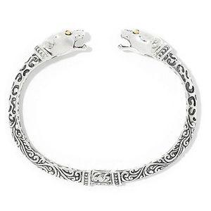Leopard Cuff Bracelet Sterling Silver & 18k Gold